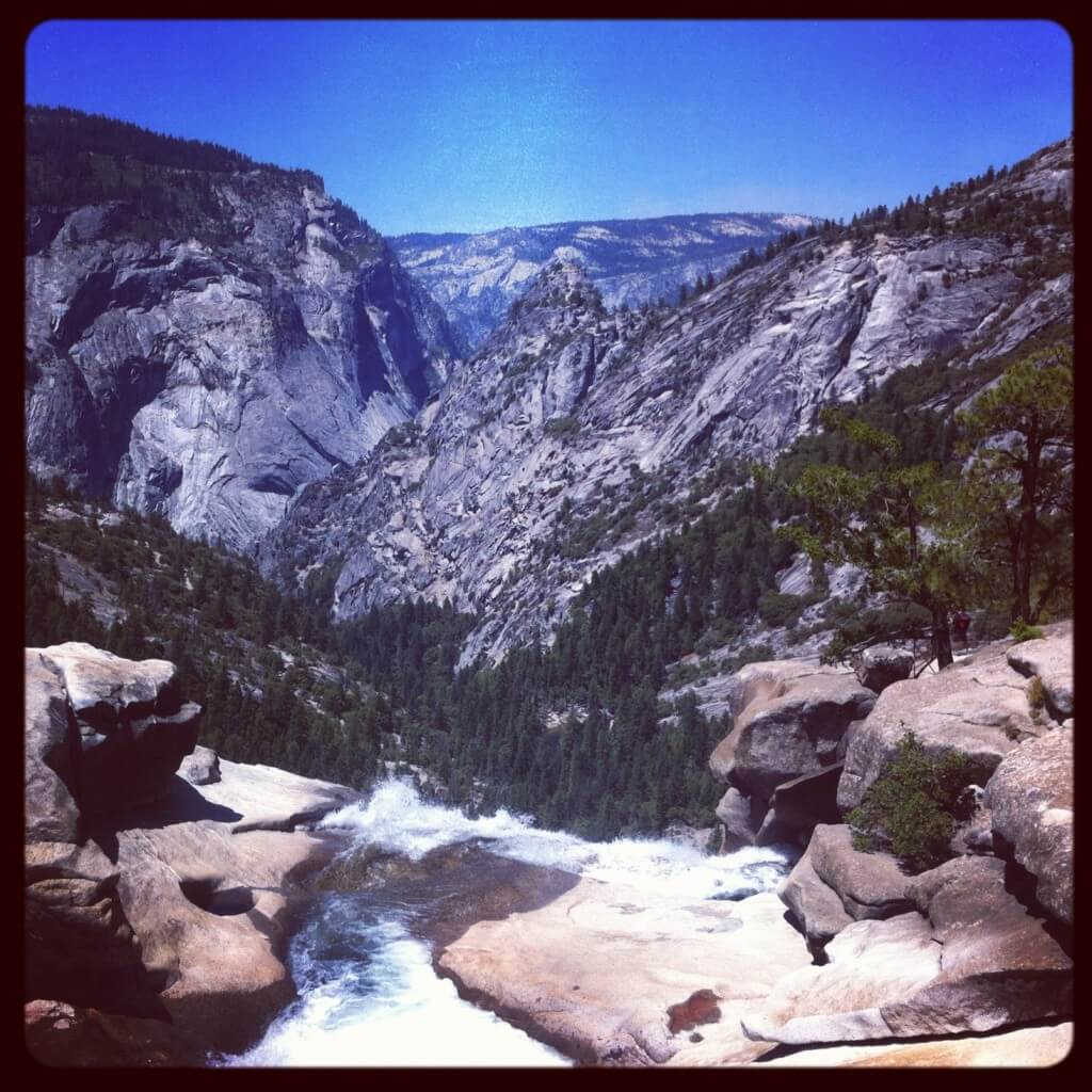 At the top of Nevada Falls in Yosemite