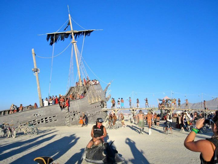 sunken pirate ship at Burning Man
