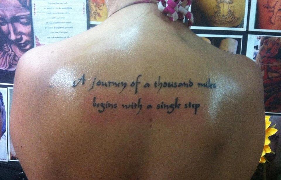 Alaina's back tattoo from India