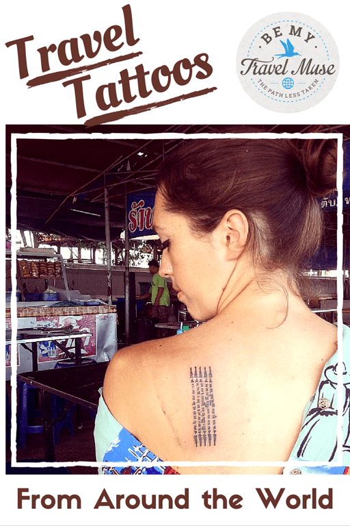A set of travel tattoos from travel bloggers received everywhere from India, to Cambodia, to Belize, to Nepal. Read more at https://www.bemytravelmuse.com/travel-tattoos-around-world/