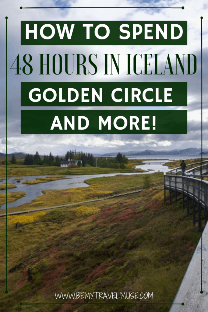 Only have two days in Iceland? Here's a compact and fun itinerary for Iceland that can be completed in 38 hours. You will be able to self drive the Golden Circle, check out some of the most beautiful waterfalls in Iceland, and of course, end your trip with a visit to the Blue Lagoon. If you are short on time, this itinerary is perfect for you. #Iceland #IcelandItinerary