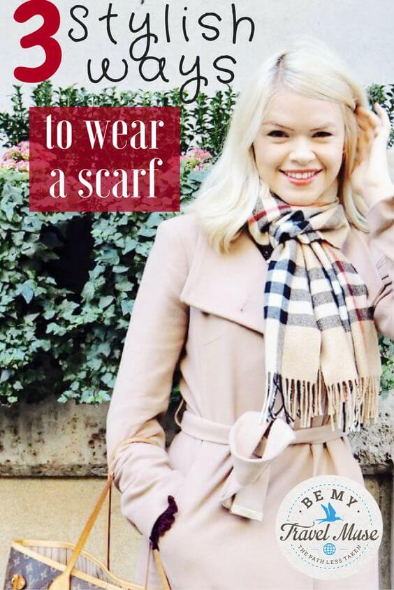 Fashion tips: Stylish ways to wear a scarf. Read more at https://www.bemytravelmuse.com/how-to-style-scarf/