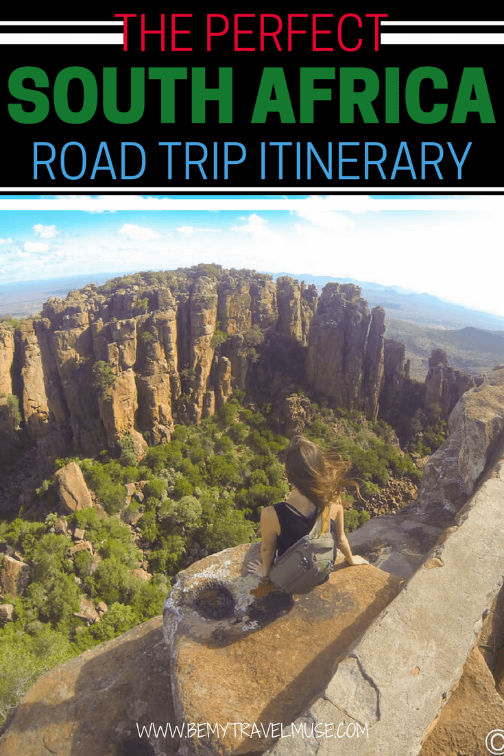 A perfect itinerary for your next South Africa road trip! Starting from Johannesburg, passing through Golden Gate Highlands National Park, Drakensberg Mountains, Coffee Bay, plus the tallest Bungee Jump in the world, accommodation tips and a route map | Be My Travel Muse