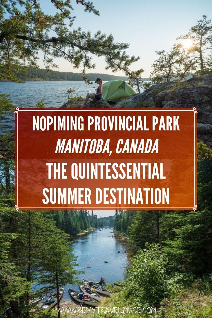A 4-day canoe trip through Manitoba's Nopiming Provincial Park during summer. Paddle during the day and sleep at a different campsite each night. Click to explore a pristine region of Canada! #Manitoba #Canada