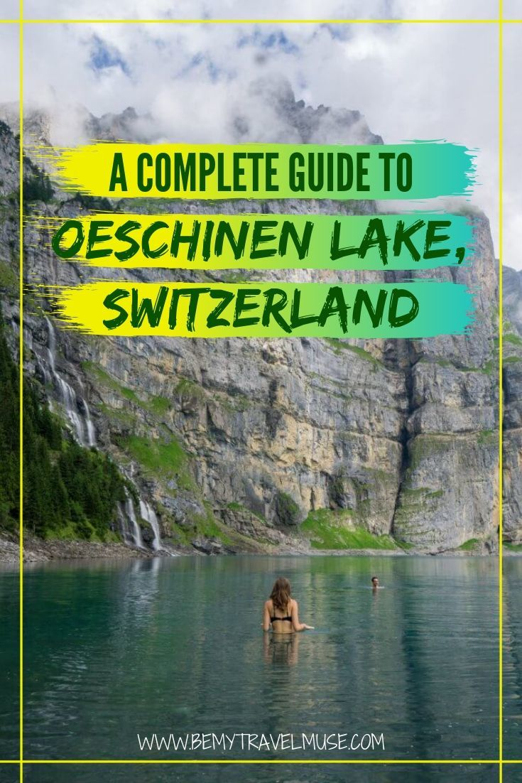 A complete guide to exploring beautiful Oeschinen Lake (Oeschinensee) in Bern, Switzerland. Get information on hiking trails, waterfalls, boat rentals, crystal clear water (that's drinkable!) and more. #Switzerland