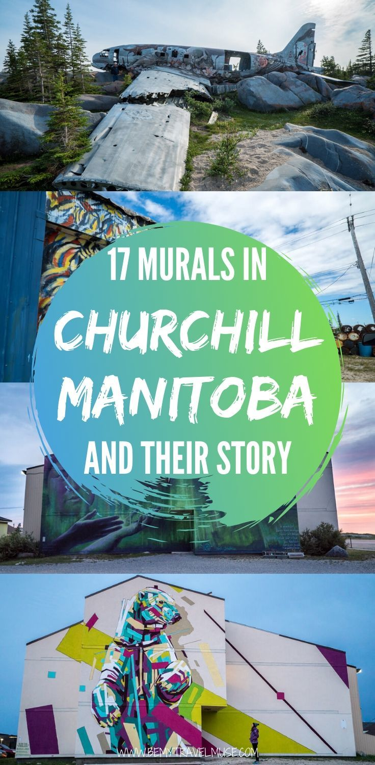 Learn more about the story behind each Seawall mural painted by artists from all around the world in Churchill, Manitoba, Canada, focusing on raising awareness on environmental change. A trip to the area makes a unique Canada travel experience. If you are an art lover, be sure to put this on the list! | Churchill, Manitoba | #ExploreMB #ExploreCanada