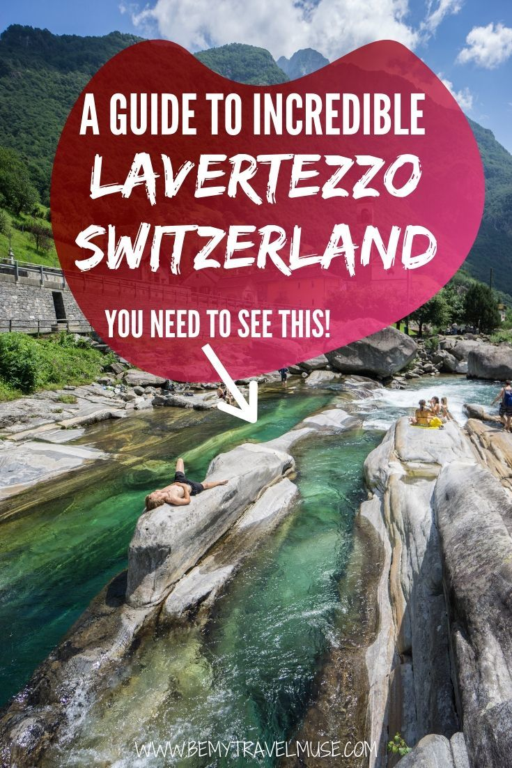 A guide to visiting incredible Lavertezzo, Switzerland, known for the crystal clear turquoise river that runs through it and makes for perfect swimming and sunbathing. #Lavertezzo #Switzerland