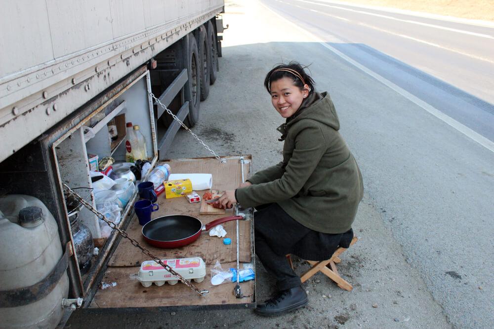 hitchhiking woman