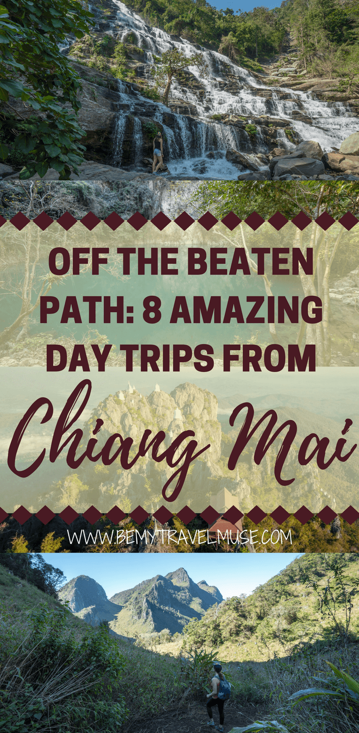 Want an off the beaten path experience from your Chiang Mai trip? Here are 8 amazing day trips from Chiang Mai that you can take. See amazing waterfalls, go for a day hike, check out a cenote (yes!) that is little known to tourists, and so much more! Details, photos and other tips included | Be My Travel Muse | Chiang Mai travel tips | backpacking Chiang Mai | Northern Thailand things to do