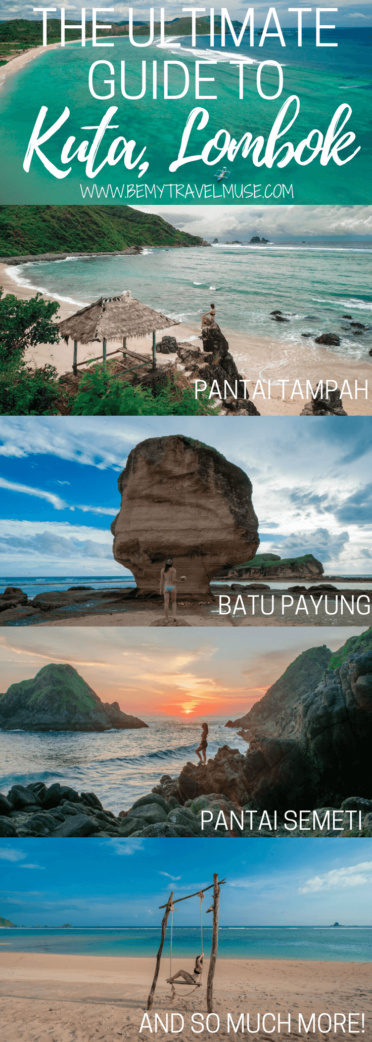 The ultimate guide to Kuta, Lombok. This beautiful spot in Lombok is laid back and peaceful. Click to check out the best beaches, where to stay, where to eat and what to do. Indonesia travel tips | Indonesia off the beaten path | Be My Travel Muse