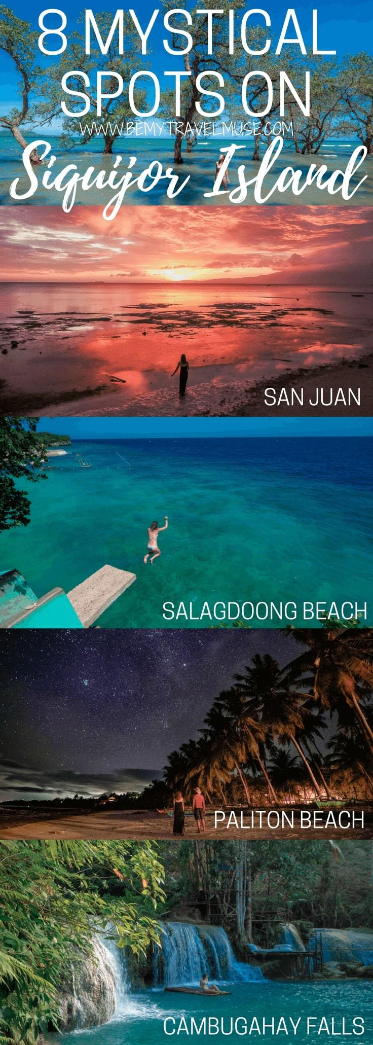 The 8 best spots you HAVE to go when on the mystical Siquijor Island of the Philippines - best beaches, best waterfalls, unique stops, plus tips on where to stay included. What a beautiful paradise! Be My Travel Muse   Salagdoong Beach   Balete Tree   Cambugahay Waterfalls   Glamping Philippines