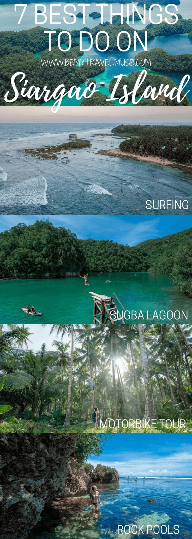 Here are the 7 awesome things to do on Siargao Island, Philippines, with additional information that will make it an awesome itinerary for your Siargao Island adventure! Be My Travel Muse   Solo female travel   Sugba Lagoon   Magpupungko Rock Pools   Philippines island travel