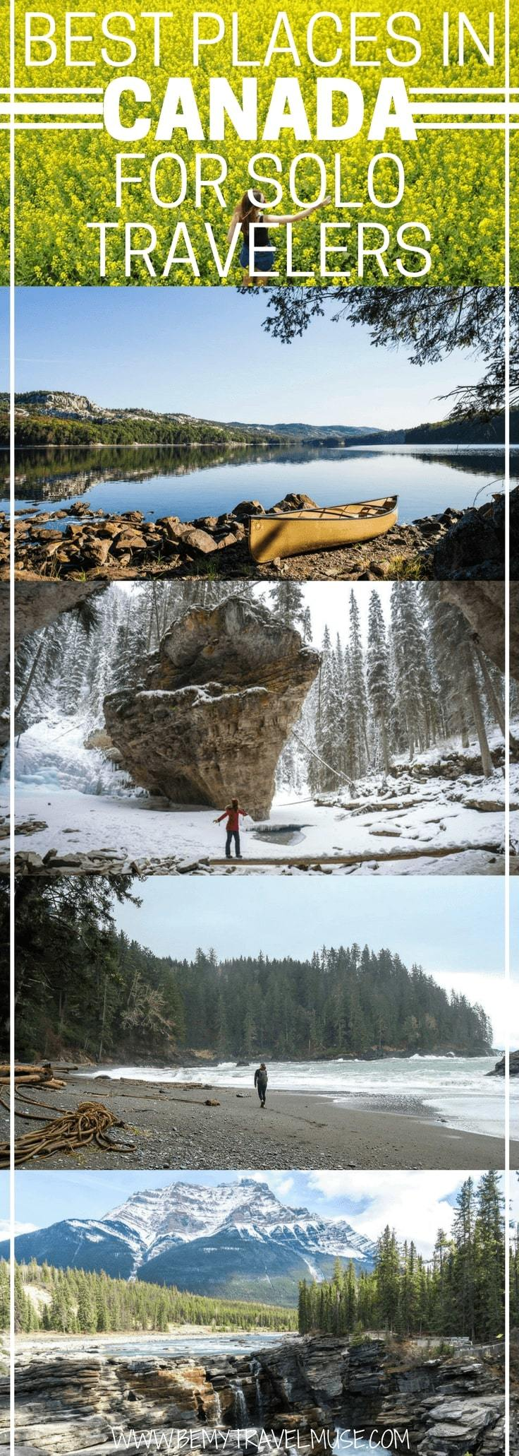 13 best places in Canada for solo travelers   Canada offers a mix of urban and nature travels, it is also very safe to travel solo in, and good to visit any time of the year. What's not to love? Travel bloggers around the world share their favorite spots in Canada that are perfect for solo travelers. Check it out! Be My Travel Muse   Canada travel tips   Solo female travel Canada