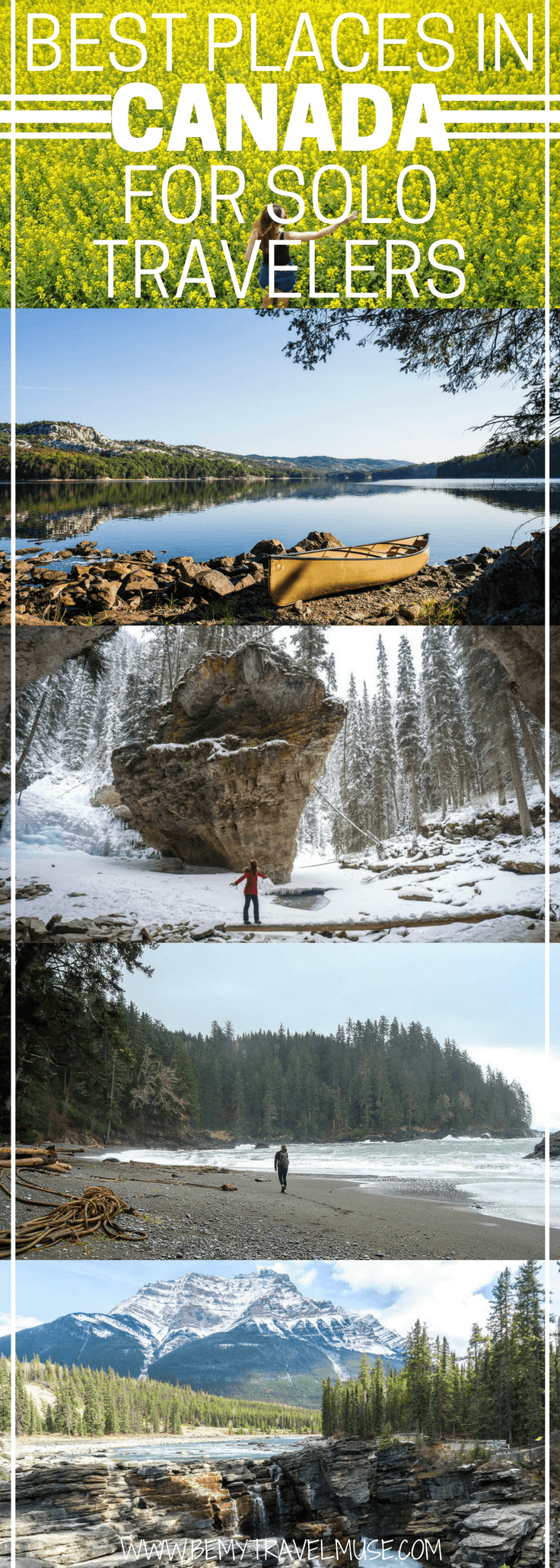 13 best places in Canada for solo travelers | The country that is good to visit any time of year offers a mix of urban and nature travel opportunities, it is very safe to travel solo in, and the people are so friendly - what's not to love? Travel bloggers around the world share their favorite spots in Canada that are perfect for solo travelers. Check it out! Be My Travel Muse | Canada travel tips | Solo female travel Canada