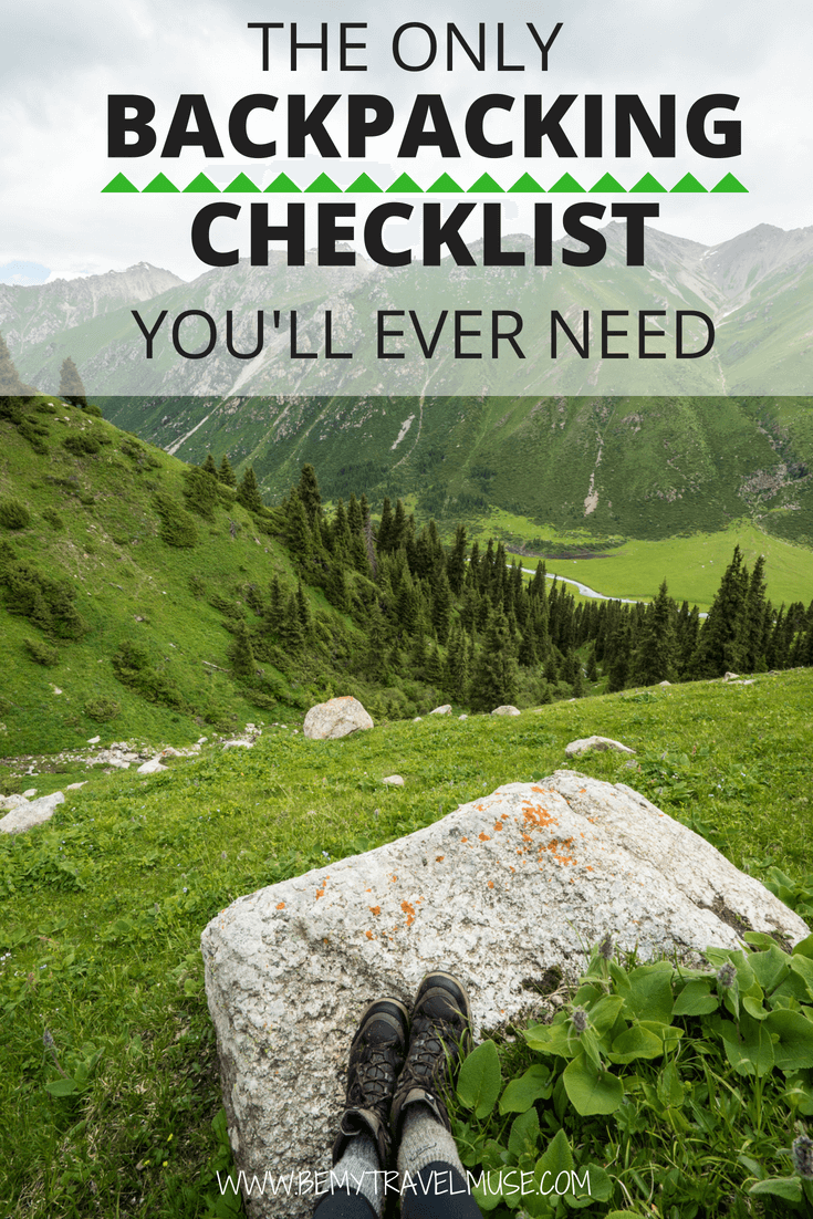 Going on a backpacking trip and worry about packing? Here's an awesome backpacking checklist that will make sure you bring the right gear without overpacking. More tips on food, camping gear, clothing, toiletries, photography and the importance of Leave No Trace Principles included. With this checklist, you will be a champion at prepping for a backpacking trip! #Backpackingtips