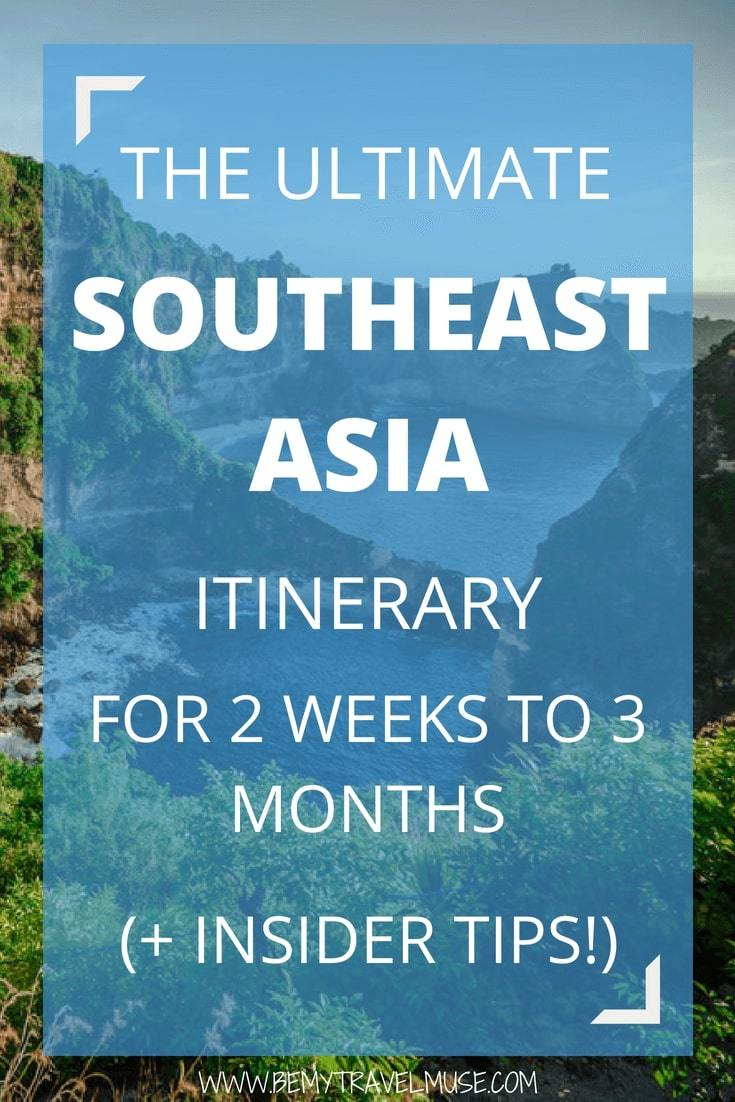 After spending 2 years in Southeast Asia, I've worked out an itinerary for 2 weeks, 1 month, or 3 months traveling in Southeast Asia for you, with many off the beaten path spots and insider tips. Food, culture, beach, mountains, cities, everything Southeast Asia has to offer is included in the itineraries. Check it out! #SoutheastAsia