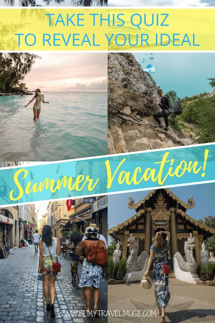 Take this fun quiz and reveal your ideal summer vacation! Should you go diving, hiking, exploring the city or relaxing on the beach this summer? If you can't decide, let this quiz do it for you, and have the best summer holiday! #SummerHolidays #FunQuiz