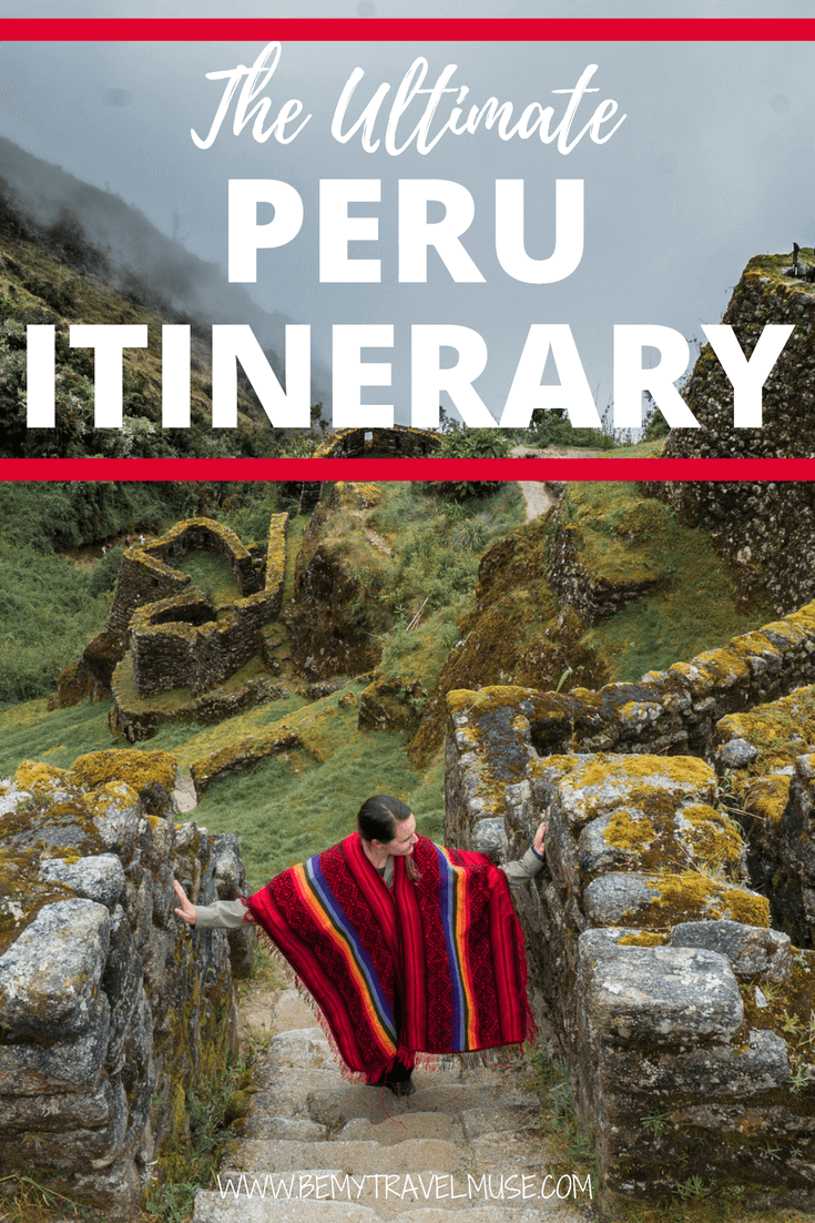The best Peru itinerary that starts from Lima, to Huacachina, Cusco, Rainbow Mountain, The Amazon, and so much more. If you are looking for an adventure in Peru, this itinerary is perfect for you. #PeruTravelTips #SouthAmerica