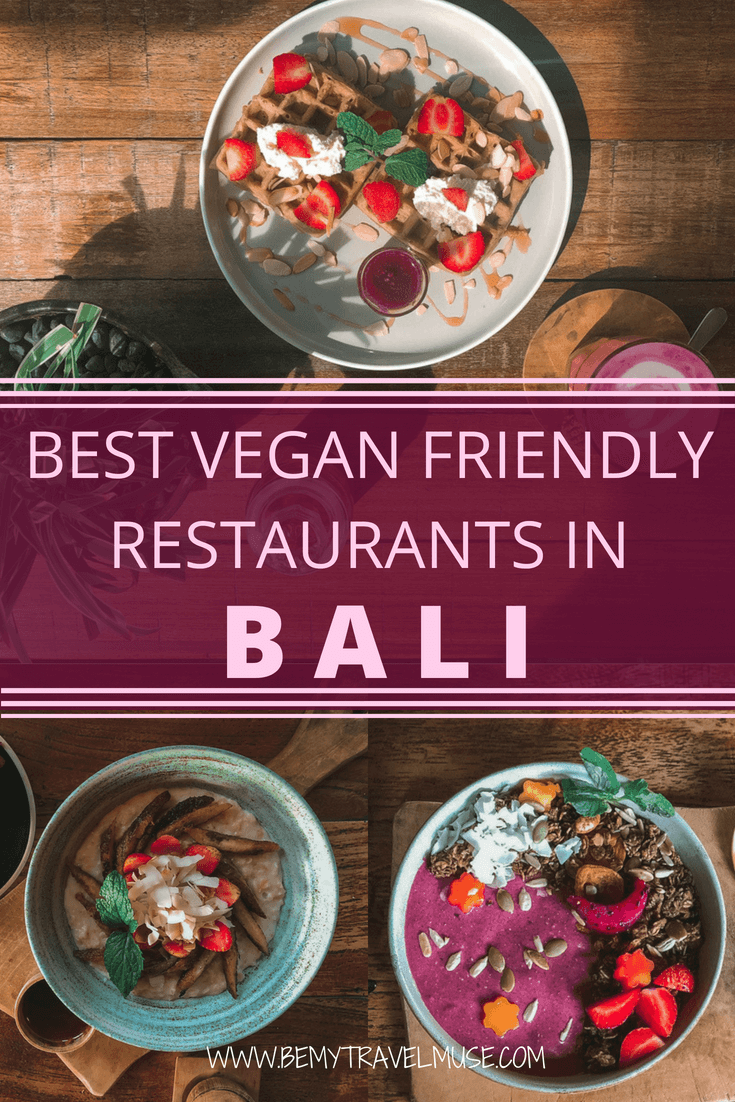Here are the best vegan friendly restaurants in all of Bali, including Canggu, Ubud, and Seminyak. From local eats to cafe food, Bali has a lot of great vegan options that are delicious. This guide has a list of recommendations from travel bloggers who have sampled the food themselves. Check it out! #VeganBali #Vegan