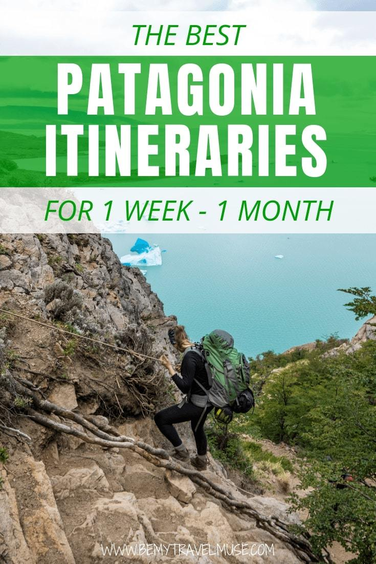 Planning an adventurous trip to Patagonia? This post includes itinerary for 1 week, 2 weeks and 4 weeks that will help you plan your route and hikes regardless of your length of stay. Maps, Packing list and other essential tips are included. #Patagonia