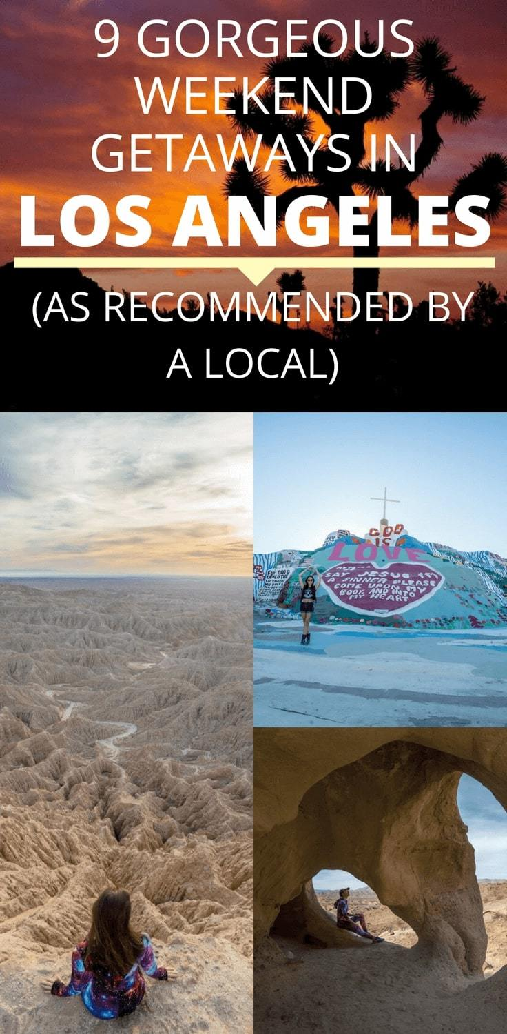 Looking for the best getaways in Los Angeles? Here's a local guide to the 9 awesome weekend getaways in LA, including Slab City, Anza-Borrego Desert State Park, Las Vegas, Santa Barbara, Joshua Tree National Park and more. #LosAngeles #WeekendGetaways