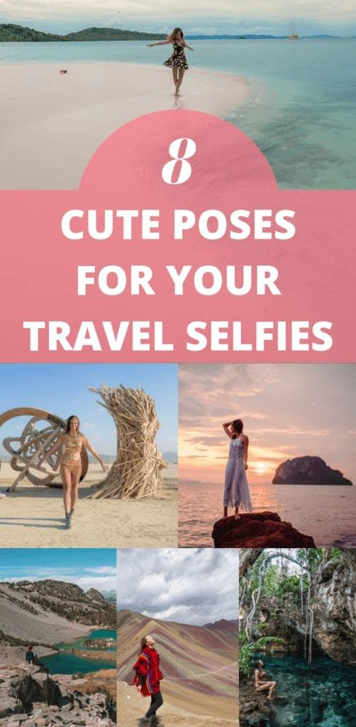 8 cute poses for your travel selfies! Forget the typical peace sign, these tips will help you pose better for your travel photos that will look nothing like a selfie! Click to read & join the 5-day pose challenge for free #Solofemaletravel #TravelSelfie