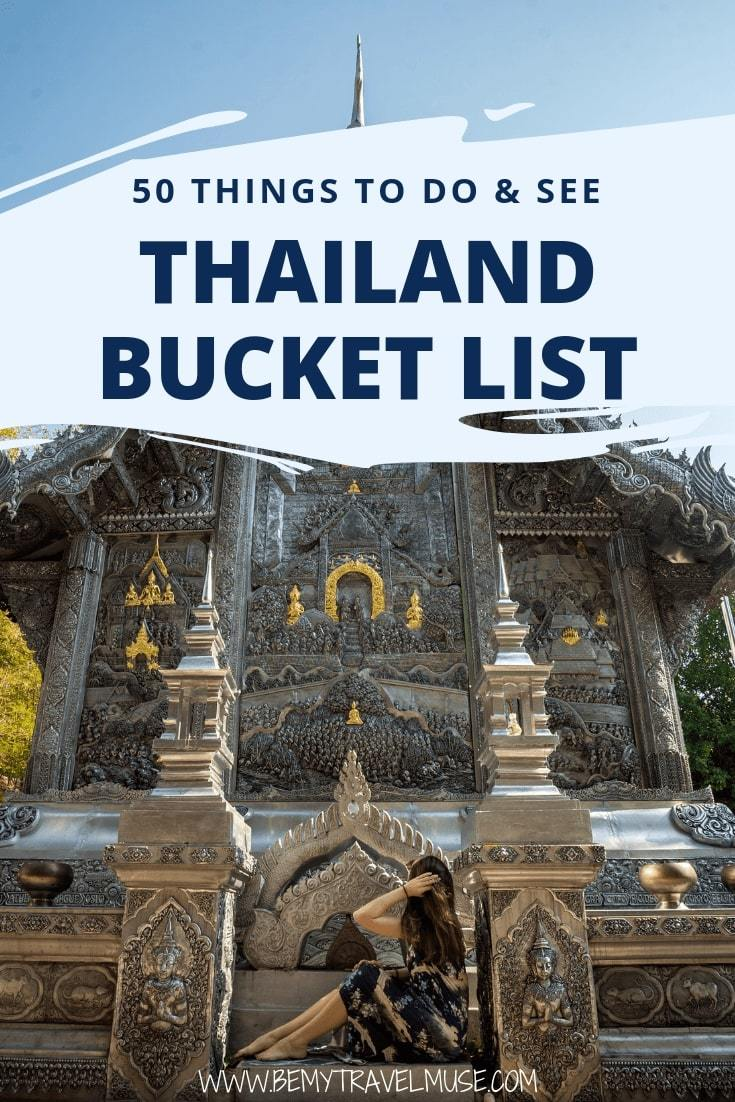 If you are traveling in Southeast Asia, you are most likely visiting Thailand at some point. Here's an awesome Thailand bucket list with 50 tops things to see & do that will help you plan your Thailand trip! Best islands, mountains, cities, food, adventures, and so much more. #Thailand #ThailandTravelTips
