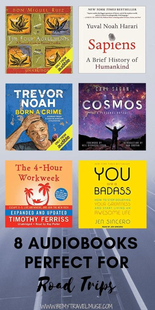 Click to check out these 8 amazing audiobooks that are perfect for roadtrips. If you are planning a road trip, be sure to download at least one of these audiobooks to keep you company! #Audiobooks #Roadtrips