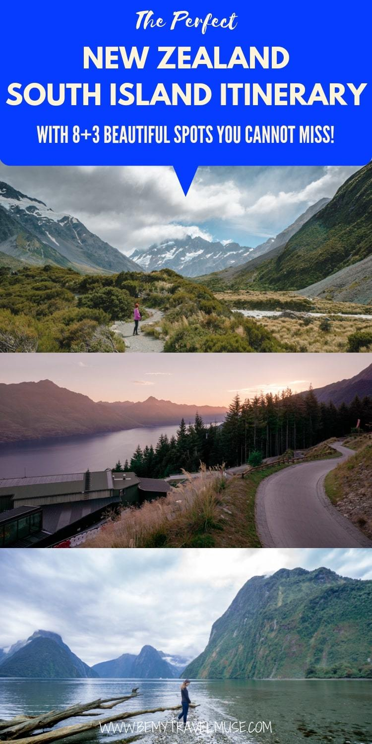 Planning a South Island New Zealand road trip? This itinerary covers 8 gorgeous stops, each with unique things to do, plus accommodation guide, route planning tips, and more photos to inspire you to start planning a perfect South Island itinerary! #SouthIsland #NewZealand