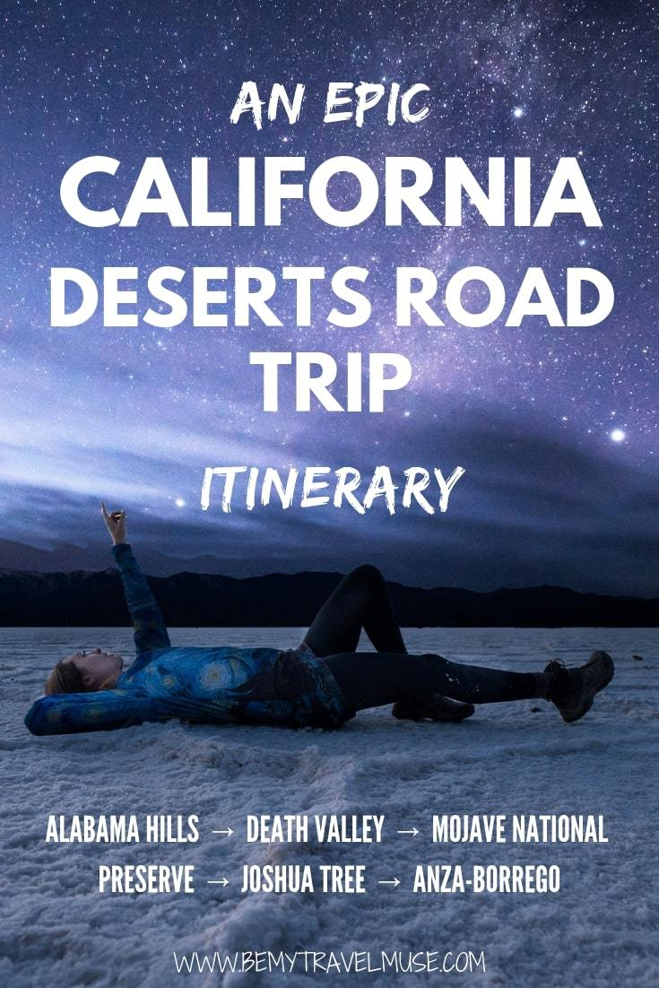 This epic California desert road trip will take you through Alabama Hills, Death Valley, Mojave National Preserve, Joshua Tree National Park and Anza Borrego State Park. Safety tips, accommodation guide and all of the best stops along the way are included. Click to read now! #CaliforniaRoadTrip #CaliforniaTravelTips