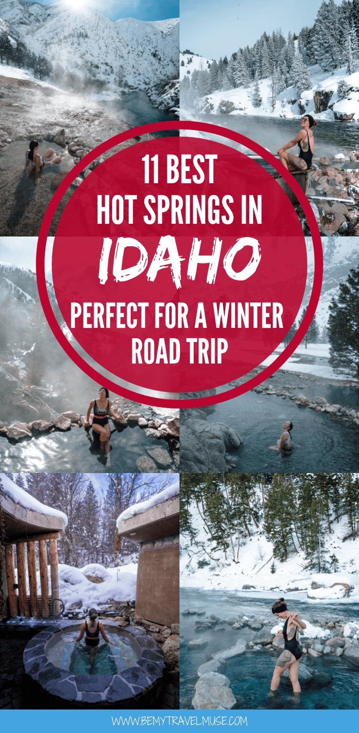 Planning a winter road trip to Idaho? Here are 11 best hot springs that you cannot miss when in Idaho, especially in the winter. Accommodation and food tips, plus a map to help you plan your trip are all included in this post. #Idaho #HotSpring
