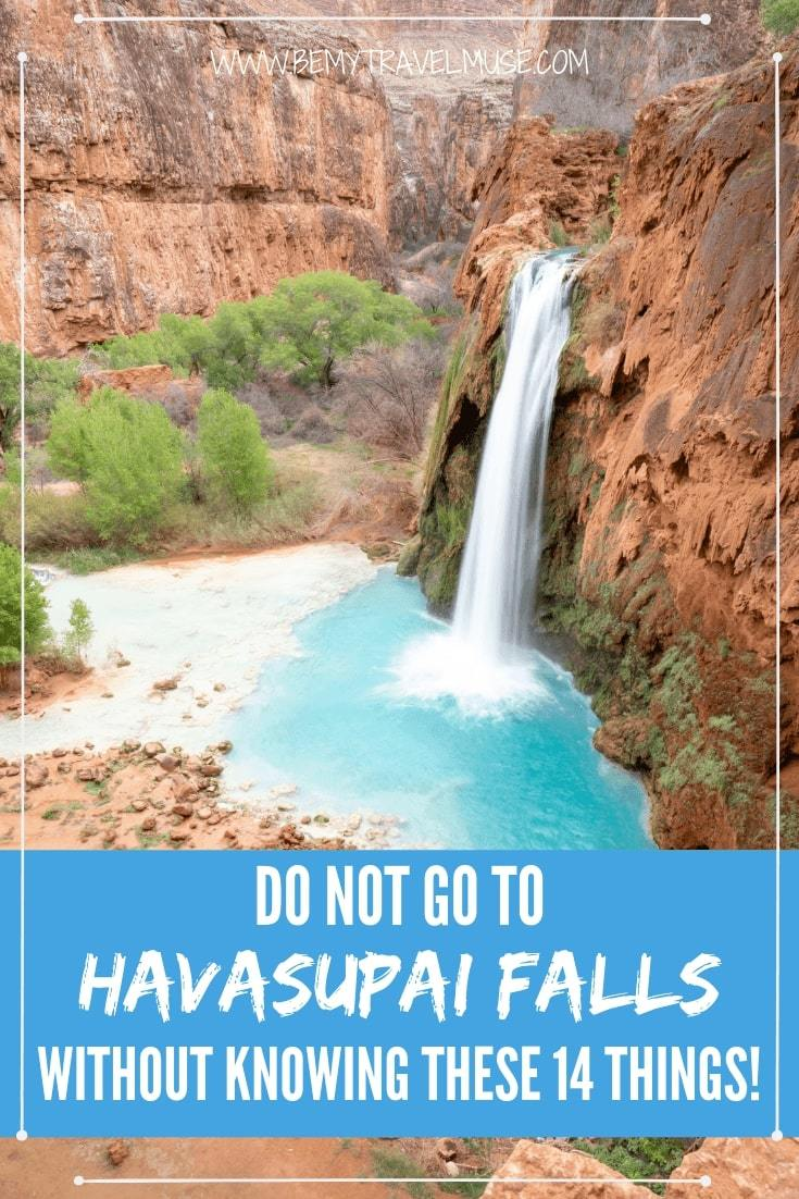 Make sure you know these before hiking to the Havasu Falls! Learn the best time to go, what to expect, how to prep, what to bring, and how to get in & out. A FREE printable backpacking checklist is included! #Havasu #Havasupai