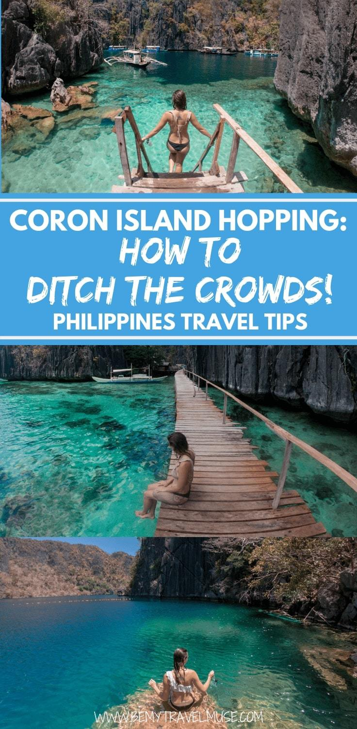 Coron, Palawan in the Philippines is increasingly popular. However, with these insider tips on where exactly to go on your island hopping trip, guide to accommodation and a review on private and group tours, you might just be able to island hop in Coron without the crowds! Click to read the post now. #Coron