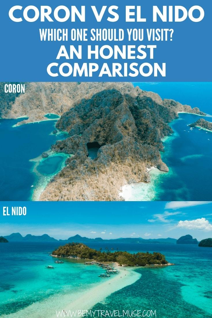 Coron vs El Nido, which one is better? Here's an honest comparison on the highlights, costs, accommodation options, and diving opportunities to help you make the best decision #ElNido #Coron