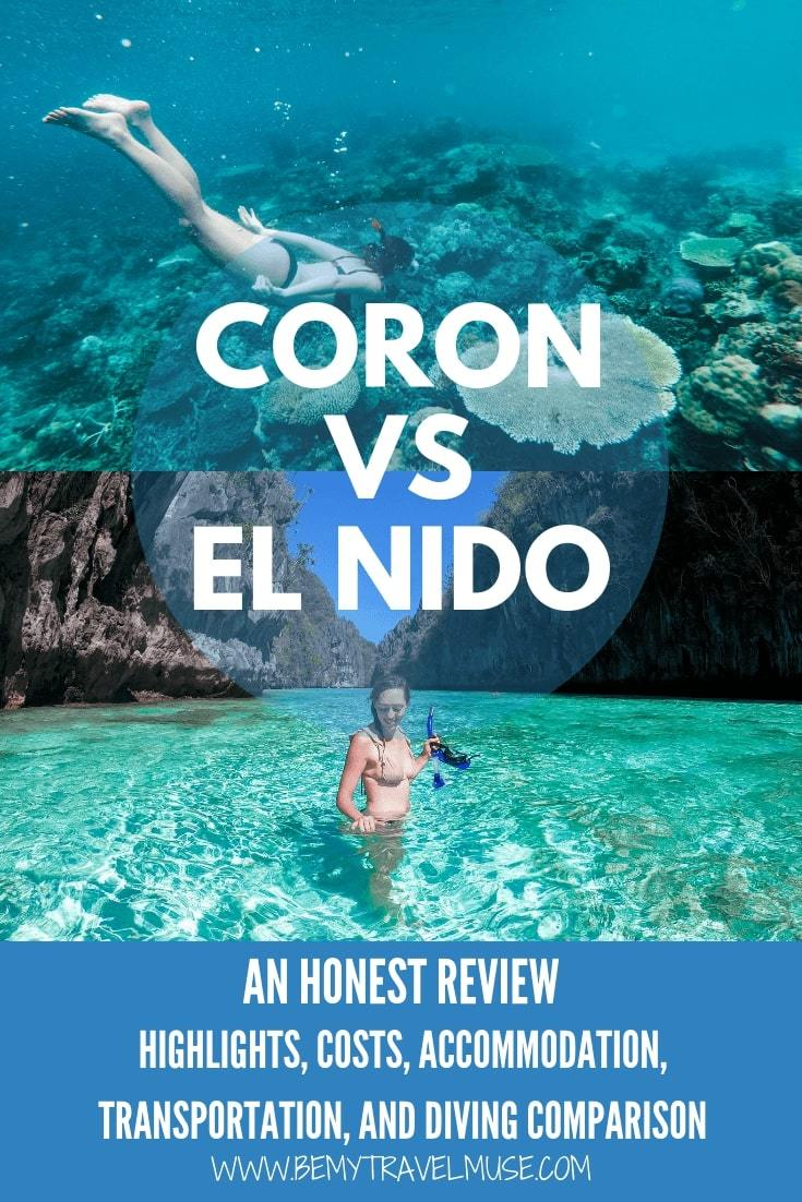 If you can only pick one, should you visit El Nido or Coron in the Philippines? I have visited both of them and here's my honest review that may help you pick the best place to visit. #ElNido #Coron
