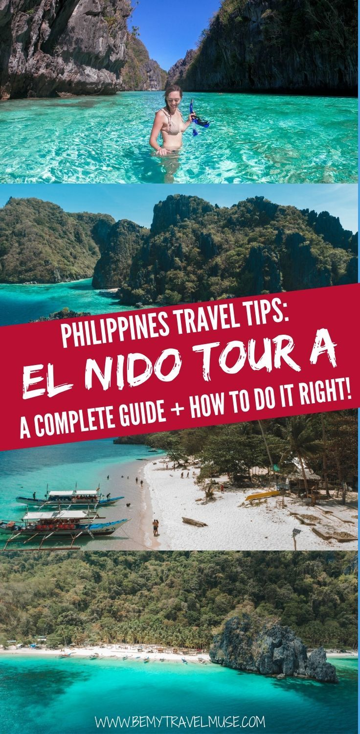Traveling to El Nido, Palawan, the Philippines? You might be considering the El Nido island hopping Tour A. Here's a complete guide to the island hopping tour, and an honest breakdown on the stops, snorkeling spots, food options, and a comparison between a group tour and a private tour to prepare you for the tour #ElNido