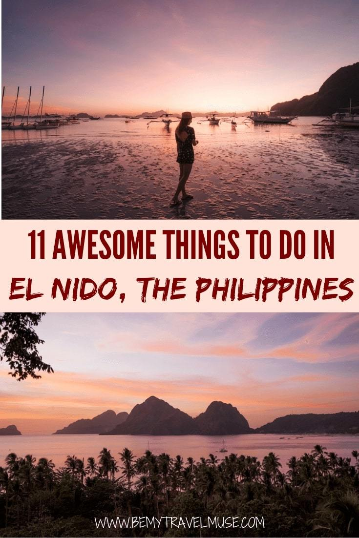 Here are 11 awesome things to do in El Nido, Palawan in the Philippines! From island hopping, kayaking, scuba diving to hiking, this list will ensure you get the best out of your trip to El Nido #ElNido