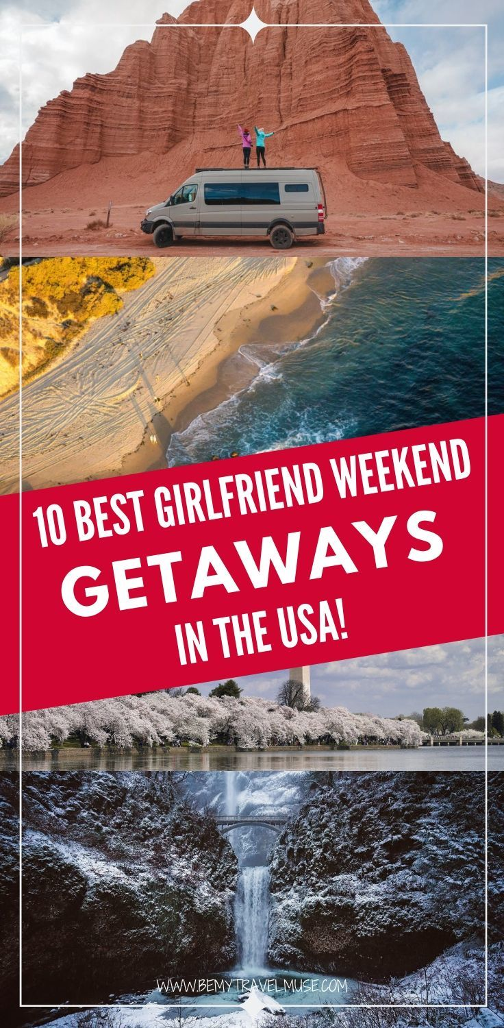 Planning a long weekend getaway with your girlfriends? Here are 10 awesome destinations in the USA that's perfect for a weekend girlfriend getaway. Whether your friend group prefers the outdoors, a lively or peaceful atmosphere, something natural, or more of a city vibe, there's something on this list that can make everyone in your group happy. Click to check out the list now! #WeekendGetaway #GirlfriendTrips