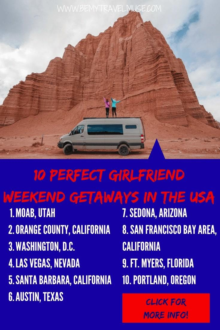 Planning a weekend getaway with your girlfriends? Here are 10 wonderful destinations in the USA that's perfect for everybody - whether your friend group prefers the outdoors, a lively or peaceful atmosphere, something natural, or more of a city vibe. If you have a long weekend coming up, this is the list for you! #USATravelTips #WeekendGetaway