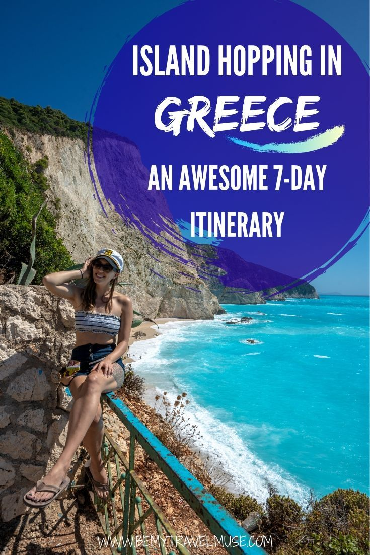 An awesome itinerary that will help you plan the most amazing 7-day island hopping trip in Greece, for the Cyclades, Ionians, and Saronic Gulf to ensure that you enjoy the Greek islands to the fullest. #Greece