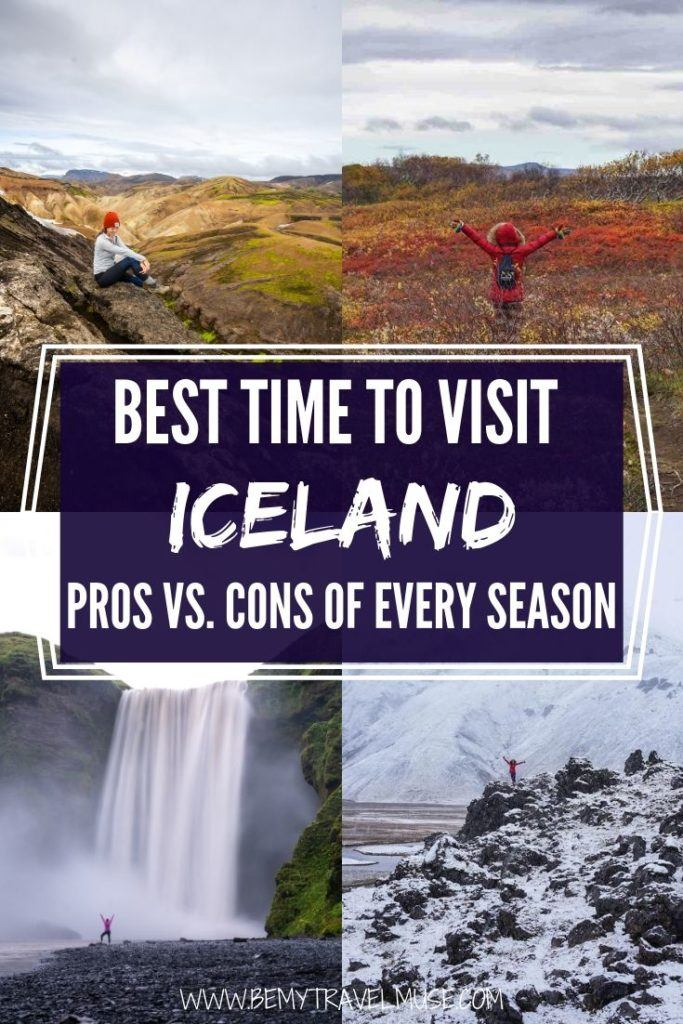 When is the best time to visit Iceland? When should you go if you want to see the waterfalls in full force, or if you want to do multiple-day hikes, or if you want to see the northern lights? Each season is unique and completely different in many ways. Click to read a complete breakdown of the pros and cons of visiting Iceland in the winter, spring, summer and fall to help you plan your trip. #Iceland