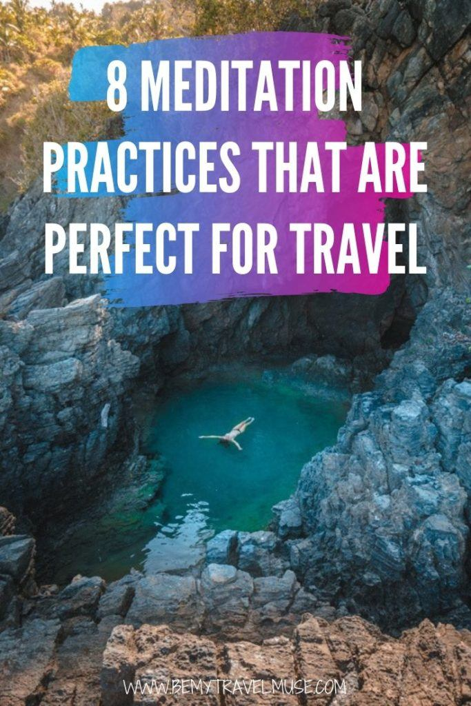 Meditating while you are traveling can be challenging due to your tight schedules and all of the distractions around you. Here are 8 simple and creative ways you can include meditation on your travels, to help you stay calm and present. #meditation