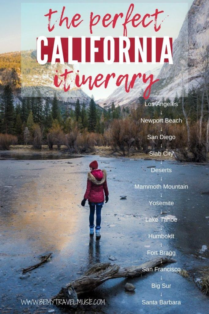 Thinking of doing an epic trip in California? Here is an awesome and complete itinerary with insider tips to help you out. The itinerary begins in Los Angeles, and you will explore places like San Diego, Slab City, Yosemite, Lake Tahoe, San Francisco and so much more. #California