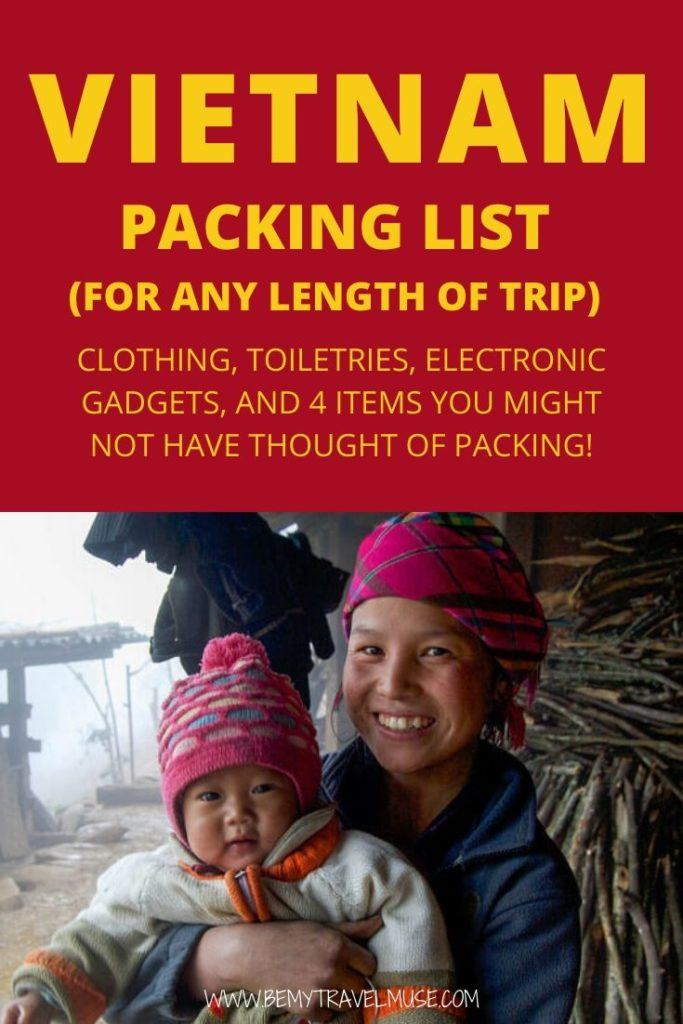 Here's a perfect Vietnam packing list for any time of the year, and for any length of trip. Get tips on what clothes, toiletries, and electronic gadgets you should bring with you, as well as  information on the weather and shopping in Vietnam. #Vietnam