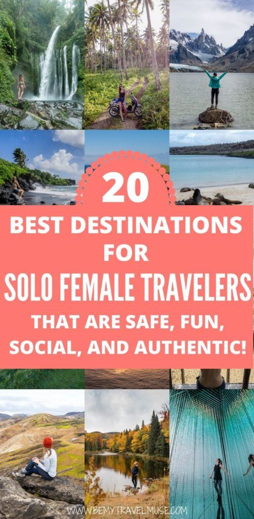 Where can solo female travelers go that are safe, fun, social, friendly and authentic? Here are 20 amazing destinations around the world that are perfect to explore alone in. Some of the destinations on this list may surprise you! #SoloFemaleTravel