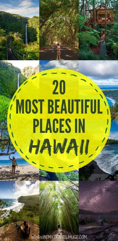 20 of the most beautiful places in Hawaii you must visit. Get inspired by photos from Hawaii Volcanoes National Park, Road to Hana, Akaka Falls, and so much more, and start planning a gorgeous trip to Hawaii! #Hawaii