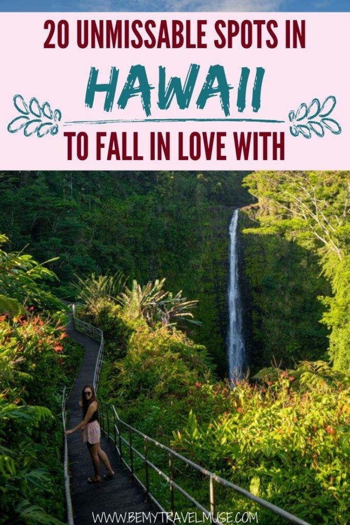 Visiting Hawaii soon? Here are 20 unmissable spots in Hawaii that are absolutely gorgeous! From national parks, waterfalls, sacred pools, to beautiful beaches and canyons, this list will help you plan the most beautiful trip to Hawaii. #Hawaii