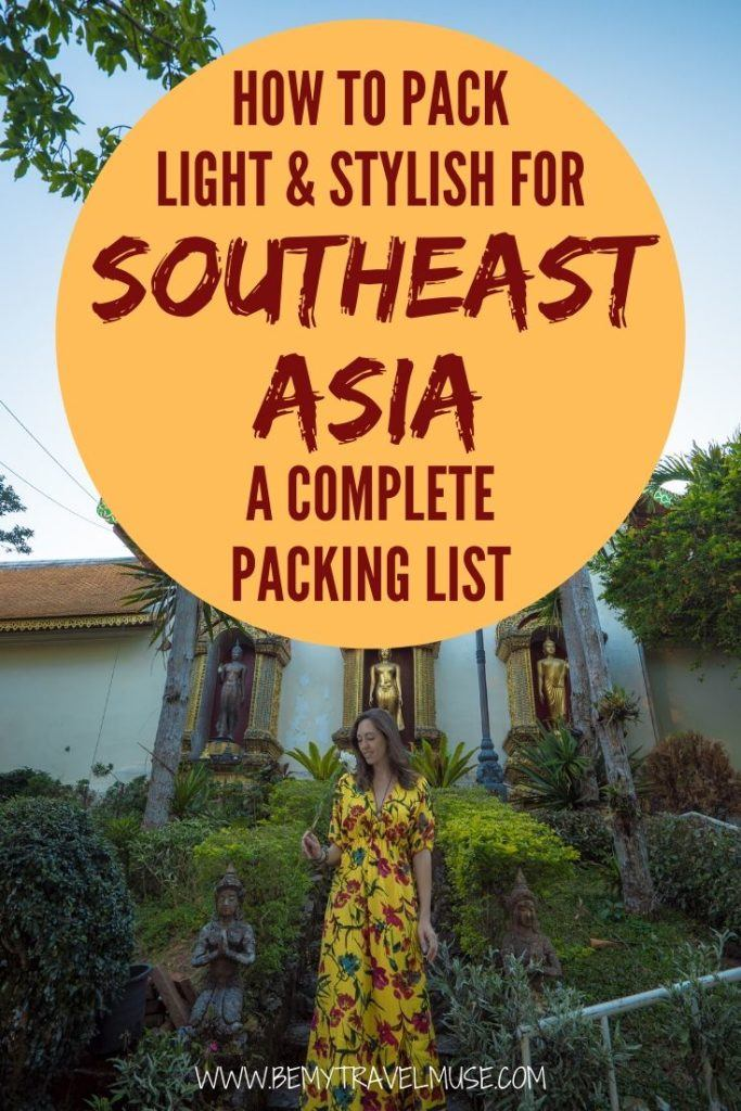 Can you pack stylishly AND light for your trip to Southeast Asia? The answer is yes! Here's a complete packing list from my 2.5 years of traveling in Southeast Asia. Learn what's essential to bring, and what to keep at home!