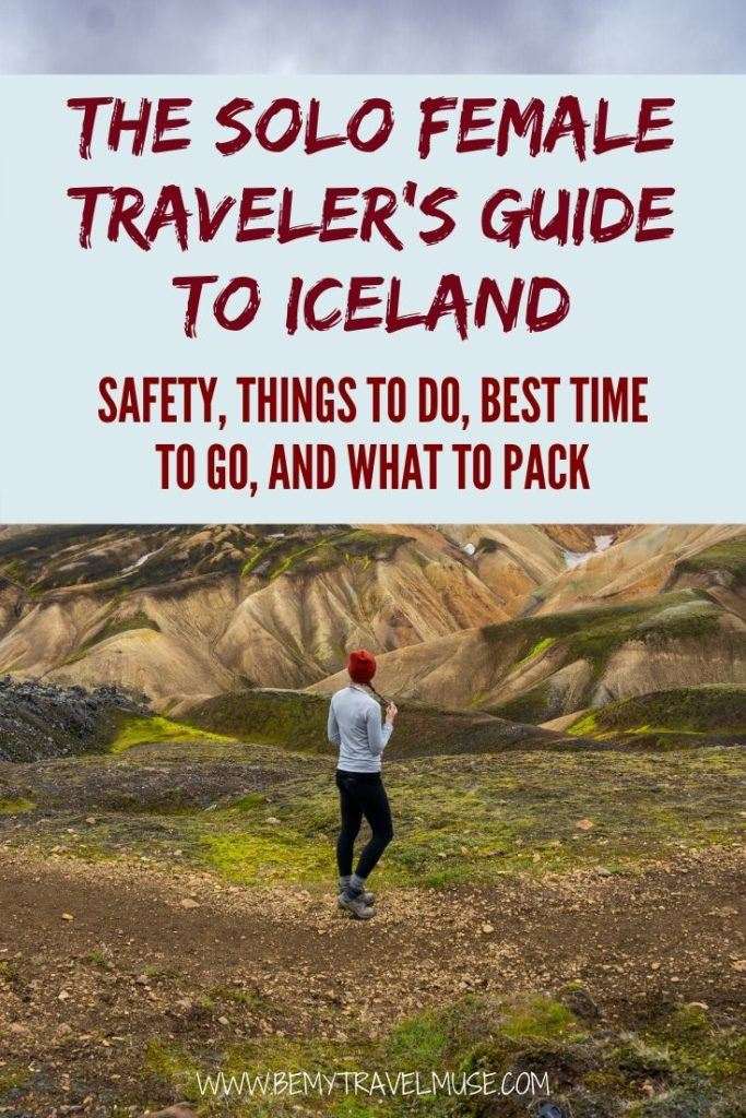 Iceland is one of the best travel destinations for solo female travellers. Click to get a complete guide to traveling solo in Iceland. Learn how you can stay safe as a solo female traveler, the best things to do, best time to visit Iceland, and a complete packing list to help you plan the best trip to Iceland. #Iceland