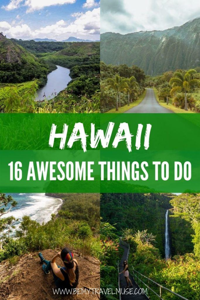 Planning a trip to Hawaii? Here's a complete bucket list with 16 awesome things to do, mostly outdoor adventures that will help you plan the best Hawaii itinerary. Waterfalls, beaches, amazing stops if you are driving, and more! #Hawaii